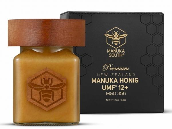 Manuka South Manuka Honig MGO 356+ (UMF 12+) im Glas mit Holzdeckel 250g